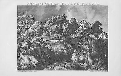 AMAZONENSCHLACHT v. Peter Paul Rubens Amazonen  Lithographie 1895