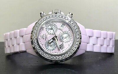 Techno Jpm 868C Pink Ceramic 2 15Ct Diamond Bezel Chrono Quartz Womens Watch