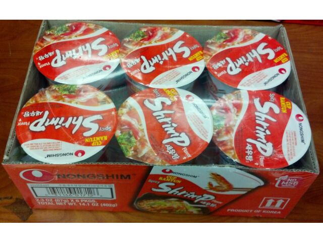 KOREAN NONGSHIM SPICY SHRIMP RAMYUN NOODLE RED HOT SOUP CUP 6 EACH / PACKAGE