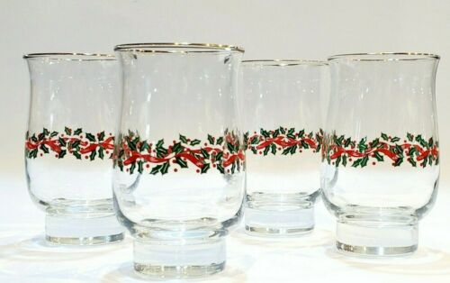 Vintage Christmas Glasses Holly Berry Arby
