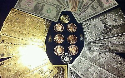HUGE SET COLLECTIBLE COINS + $1-$100 GOLD/SILVER& PAPER REP.*BANKNOTES + MORE!P