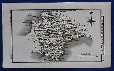 Original antique miniature county map DEVONSHIRE, Samuel Leigh, 1820-31