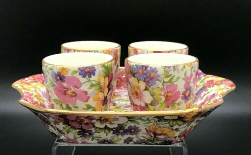 James Kent Ltd. LIMITED EDITION DU BARRY / DuBarry Chintz 4 Egg Cups and Tray