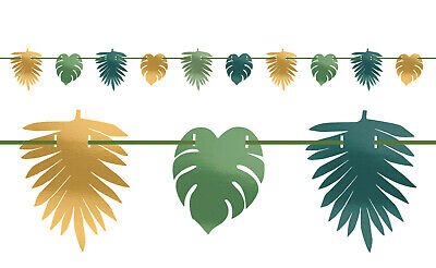 een & Gold Foil Palm Leaf Party Banner Bunting 3.65 Metres (Green Banner)