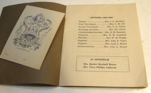 FORT VALLEY GEORGIA GOVERNOR TREUTLEN CHAPTER DAR 1927-28 YEARBOOK & BOOKPLATE