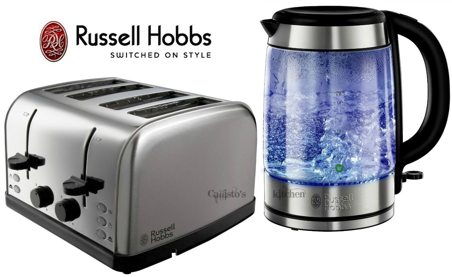 kettle and toaster set russell hobbs futura 4 slice toaster and glass kettle new ebay. Black Bedroom Furniture Sets. Home Design Ideas
