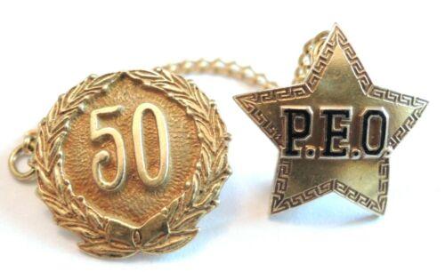 14K solid Gold P.E.O. PEO Sisterhood star pendant pin & 10k 50th badge & Chain