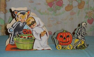 vintage HALLOWEEN CARDBOARD CANDY CONTAINER LOT x2 bobbing for apples & skeleton - Decorated Candy Apples Halloween