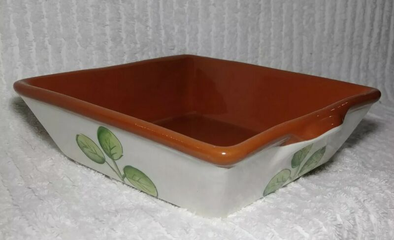 "A S Portugal Baking Pan Dish Square 6.5"" x 6.5"" x 2.25"" Pottery 3 Leaves Heavy"