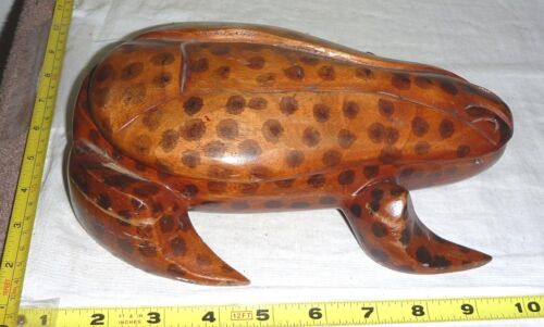 "Vtg Hand-Carved WOOD FROG 2-Piece Trinket Box ~9""L x 7""W x 3""H"