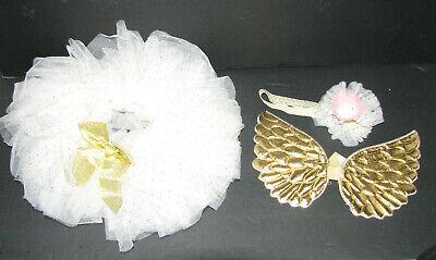 0 3 Month Costumes (3 Piece Angel Wings Tutu Headband Newborn Costume Prop 0-3 Months Ivory)