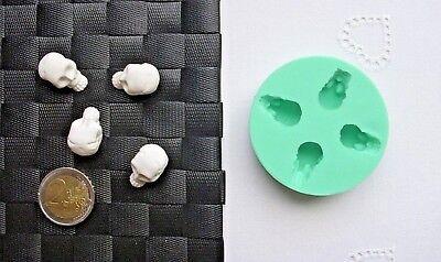 3D Silikonform Totenkopf 4tlg Schädel /  Halloween / Fimo / Giessform / Hobby