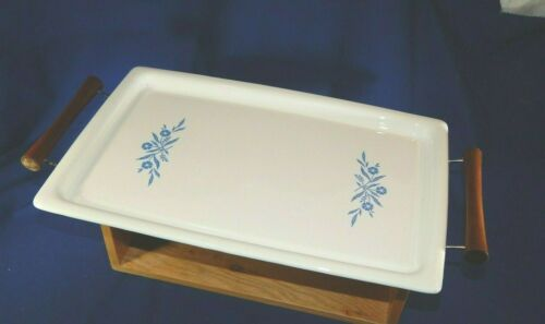 Corning Ware Blue Cornflower Broil Bake Tray P-35-B w/ Original Serving Cradle