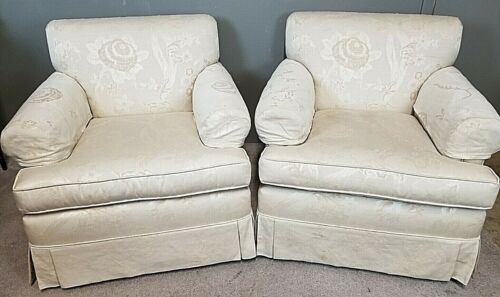 Lovely Pair of EDWARD FERRELL LTD Floral Print Upholstered Club Lounge Armchairs
