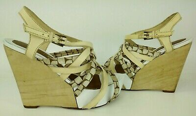 L.A.M.B. Womens Heels 6 M Tan Beige White Leather Platform Wedge Wood 5449