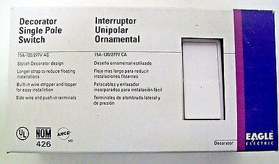 Box Of 10 Eagle 6501w 15 Amp 120277v Decora Single Pole Rocker Switches White