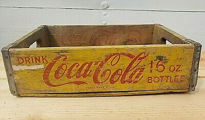 Vintage Coca-Cola Wooden Yelow Soda Pop Crate Carrier Box case wood COKE 1969