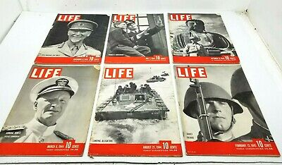 Lot of 6 Vtg 1940s LIFE Magazine All WW2 Subject Matter COVERS Great Advertising