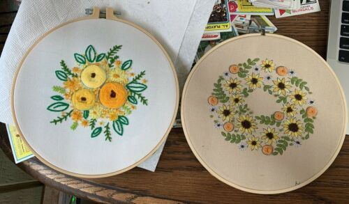 Completed Punch Needle Flowers-Yellow themed