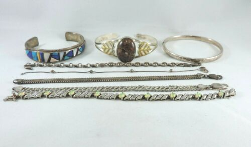 8 Pc. Lot of .925 Sterling Silver Bracelets  -  Assorted Styles - 90 grams