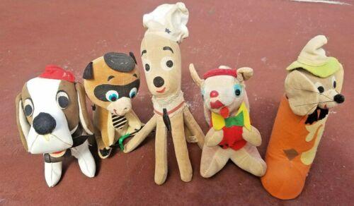 5 Vintage Felt Plush Stuffed Animals-Holiday Fair, Dakin, Japan, Dream Pets