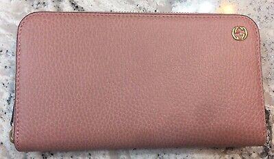 Authentic New Gucci Interlocking G Leather Zip Around Pink Wallet #449347