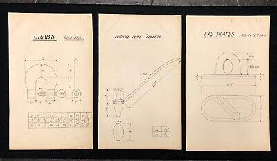 3 X Harland & Wolff Belfast 1930's Drawings GRABS FULLERS EYE PLATES - RF05