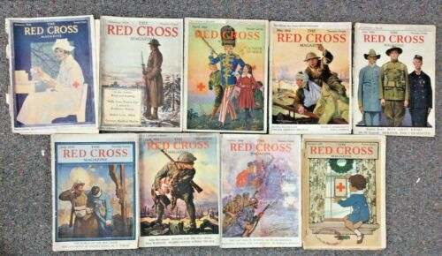 Lot of American Red Cross Magazines from 1918 World War I WWI - 9 Issues
