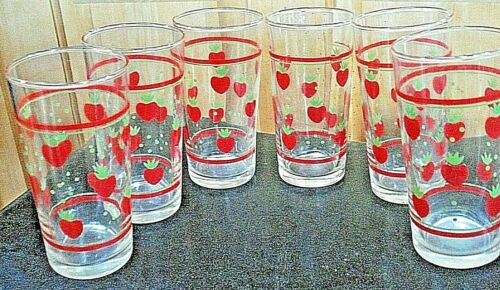 VINTAGE 11 oz. DRINKING GLASSES SET OF 6 STRAWBERRY DRINKING GLASS