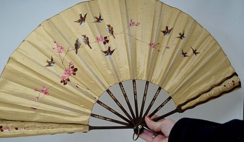"Antique Lg Chinese Folding HAND FAN Silk Painted BIRDS  13"" x 23"" Carved Wood"