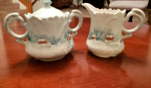 Hand Painted Creamer and Sugar Bowl with Lid Christmas Holiday Winter Scene 1973