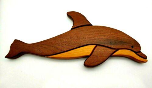 "Handmade Two Tone Wood Intarsia Sculpture Dolphin Wall Art Beach Island 17"""