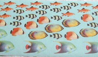 Tropical Fish Bowl - Wallpaper Border Fish Bowl Tropical AQUARIUM Goldfish Aqua Blue Ocean Wall 50996