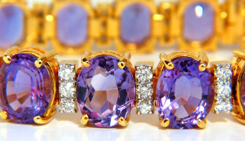 62.00ct natural oval bright purple amethyst diamonds tennis bracelet Victoria