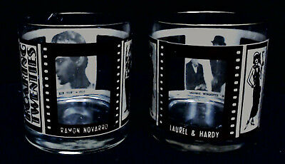 ROARING TWENTIES SILENT MOVIE STARS COCKTAIL GLASSES VINTAGE BARWARE LOT of 2 #4