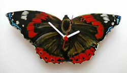 RED ADMIRAL BUTTERFLY HAND MADE WOODEN WALL CLOCK BUTTERFLY WILDLIFE COLLECTION