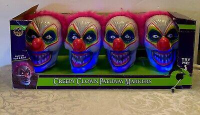 Creepy Clown Pathway Markers, Halloween Decor Box Of 4 Light up Talking Read!