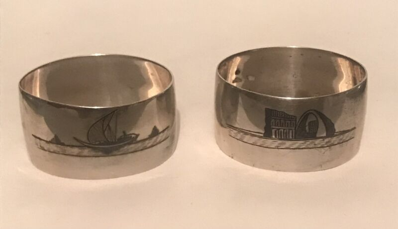 Pair of Oval Middle Eastern Iraqi Niello Marsh Arab Solid Silver Napkin Rings