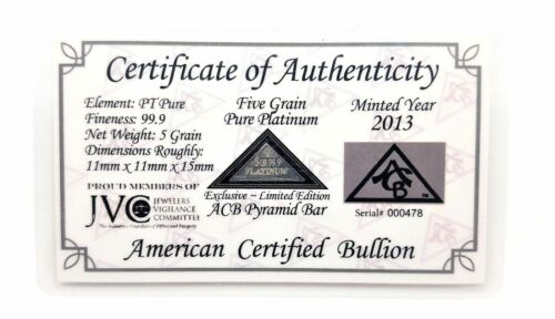 1/3 Gram .999 Fine Platinum Bullion Pyramid Bar - Limited Edition in COA Card