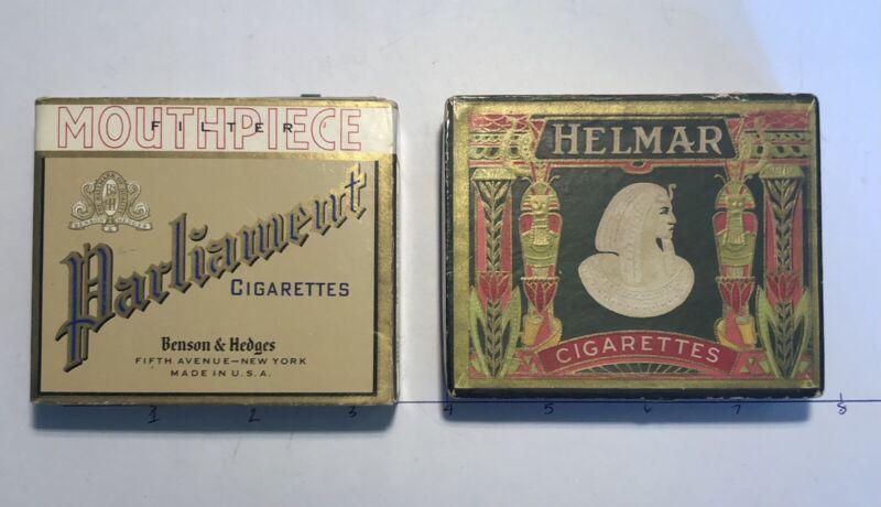 2 Vintage Cigarette Boxes Parliament Bensen&Hedges Helmar Turkish Egyptian