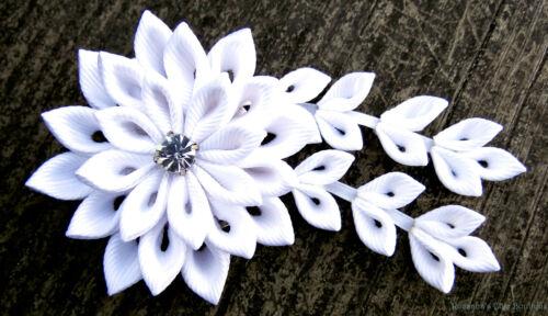 White flower hair clip w/ crystal grosgrain fabric wedding bride bridemaids