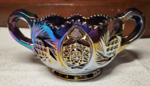 Vintage Smith Glass Co Carnival Black Amethyst Open Sugar Trinket Dish BEAUTIFUL