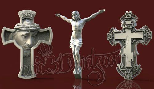 3 3D STL Models Religion Cross CNC Router Carving Machine Artcam aspire Cut3D