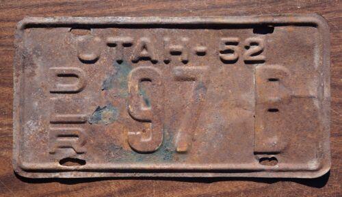 1952 Utah DEALER License Plate # 97  B
