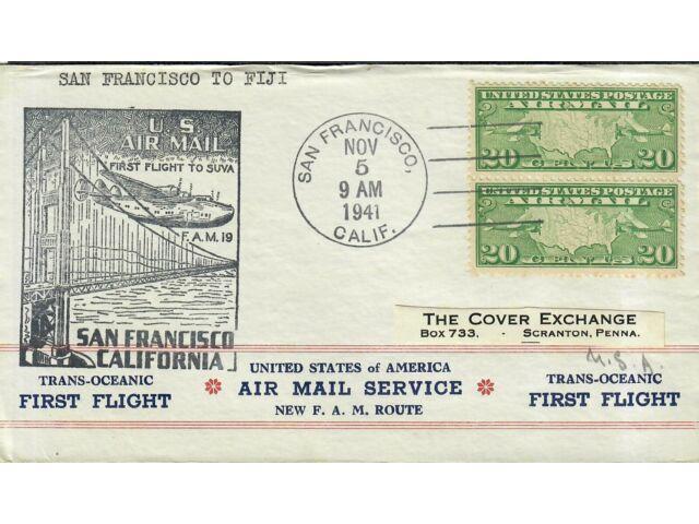 First Flight Cover San Francisco To Fiji 1941
