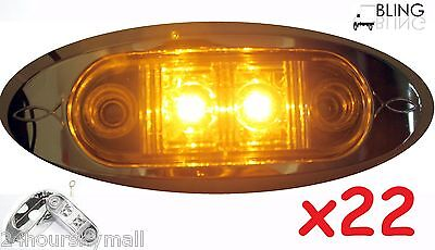 "22 Amber w Bezel LED Oblong Oval Clearance Side Marker Truck Trailer 2"" Light US"