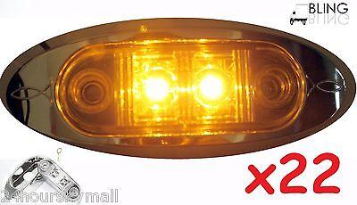 "22 Amber w Bezel LED Oblong Oval Clearance Side Marker Truck Trailer 2"" Light US"