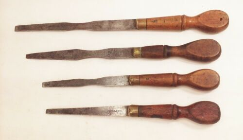 Vtg antique Stanley cabinet makers screwdriver tool lot wood handle cast steel