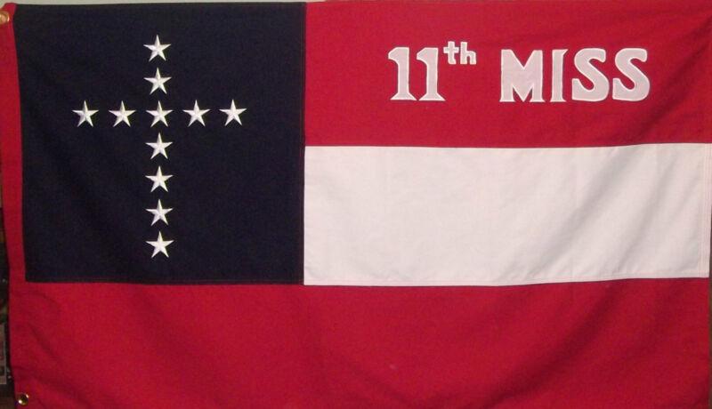 11th MISSISSIPPI HEAVY COTTON FLAG - SEWN CIVIL WAR - DIXIE CSA