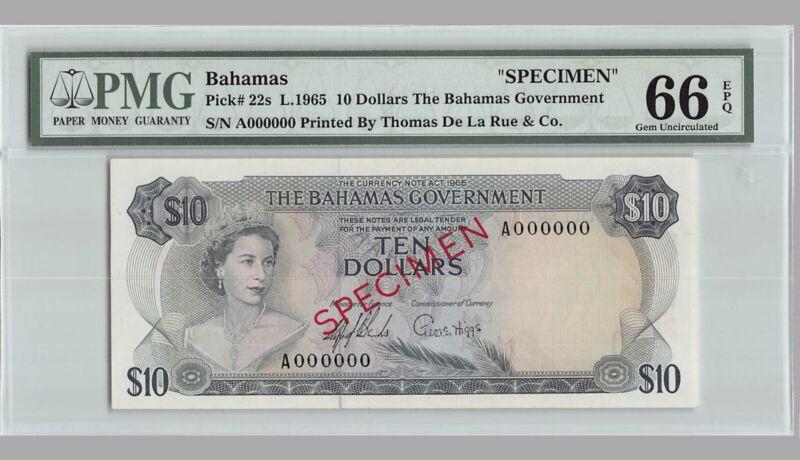 BAHAMAS 10 Dollars SPECIMEN 1965 P-22s PMG 66 EPQ Gem UNC